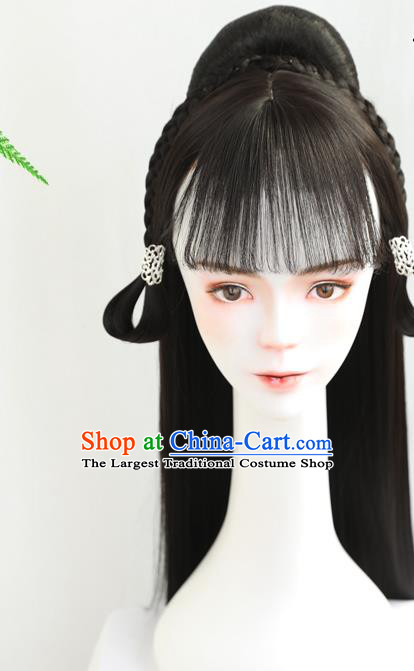 China Handmade Ancient Young Lady Wig Sheath Traditional Ming Dynasty Princess Wiggery Headdress