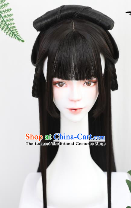 China Handmade Ancient Noble Lady Wig Sheath Traditional Jin Dynasty Princess Straight Bangs Wiggery Headdress