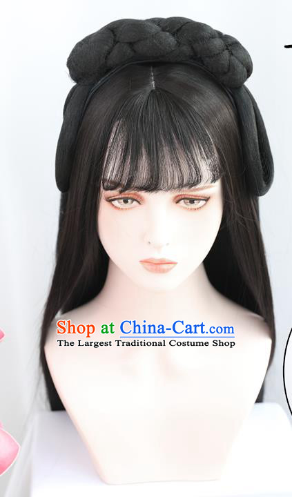 China Traditional Ming Dynasty Wiggery Headdress Handmade Ancient Country Lady Wig Sheath Hair Clasp