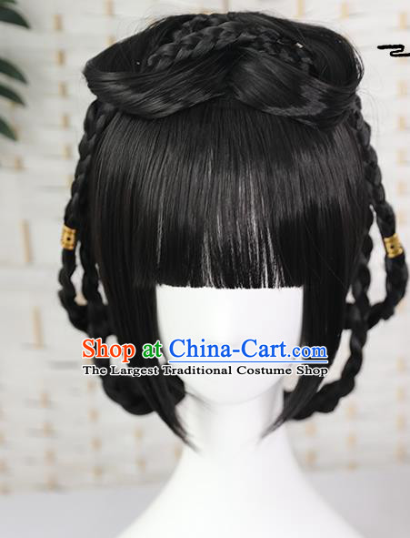 China Traditional Song Dynasty Young Lady Straight Bangs Wiggery Headdress Handmade Ancient Village Girl Wig Sheath