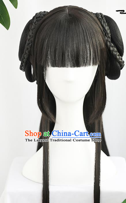 China Traditional Song Dynasty Wiggery Headdress Handmade Ancient Young Lady Straight Bangs Wig Sheath