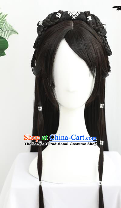 China Traditional Ming Dynasty Swordswoman Wiggery Headdress Handmade Ancient Young Girl Wig Sheath