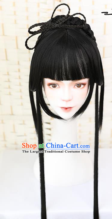 China Traditional Ming Dynasty Young Girl Wiggery Headdress Handmade Ancient Palace Lady Straight Bang Wig Sheath