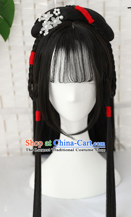 China Traditional Ming Dynasty Straight Bang Wiggery Headdress Handmade Ancient Young Beauty Wig Sheath