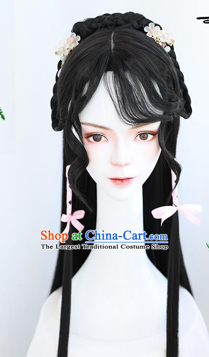 China Traditional Tang Dynasty Curly Wiggery Headdress Handmade Ancient Young Lady Wig Sheath