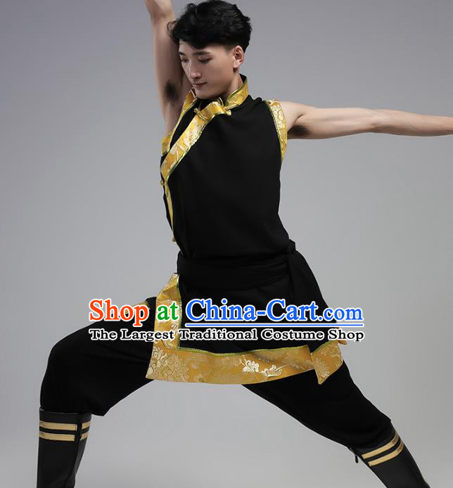 China Traditional Ethnic Costume Zang Nationality Folk Dance Black Shirt and Pants Outfits