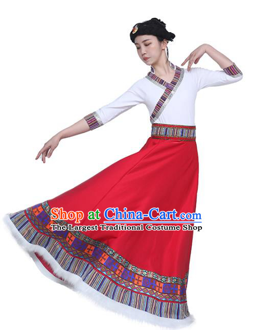 China Handmade Tibetan Folk Dance White Blouse and Red Skirt Outfits Traditional Zang Nationality Clothing