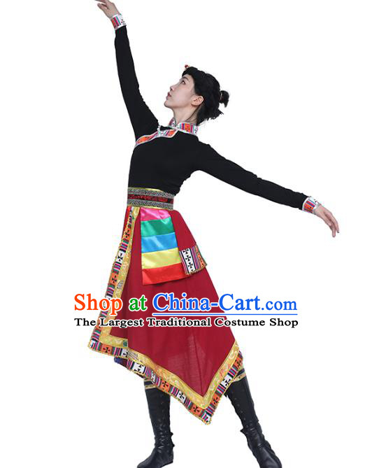 China Handmade Tibetan Ethnic Black Blouse and Red Skirt Outfits Traditional Zang Nationality Folk Dance Clothing