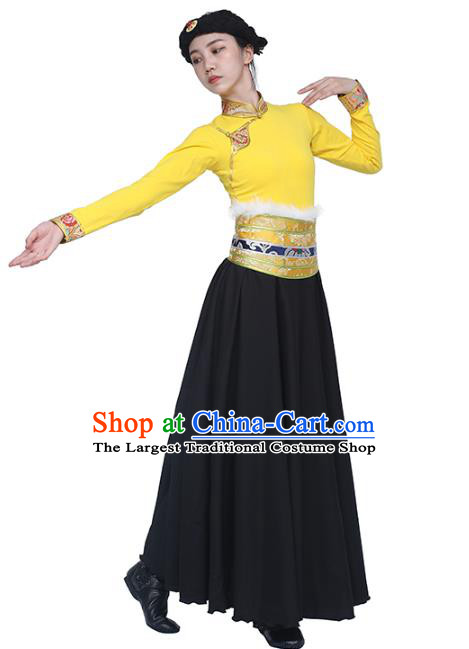 China Traditional Zang Nationality Women Clothing Tibetan Ethnic Dance Yellow Blouse and Black Skirt Outfits