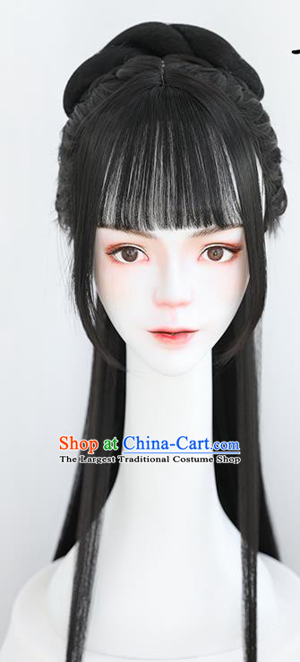 China Traditional Ming Dynasty Princess Straight Bangs Wiggery Headdress Handmade Ancient Palace Beauty Wig Sheath