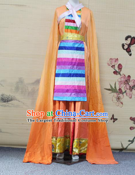 China Traditional Zang Nationality Water Sleeve Clothing Tibetan Ethnic Women Dance Orange Dress Outfits