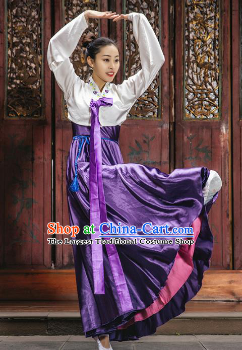 Chinese Classical Dance Clothing Traditional Korean Nationality Dance White Blouse and Purple Dress Complete Set
