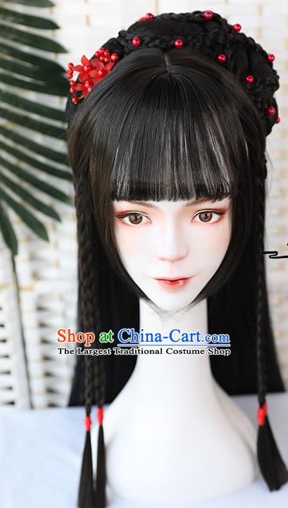 China Traditional Song Dynasty Straight Bangs Wiggery Headdress Handmade Ancient Female Swordsman Huang Rong Wig Sheath