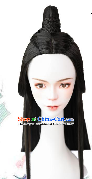 Handmade Chinese Ancient Prince Wig Chignon Traditional Jin Dynasty Swordsman Hair Accessories Wigs