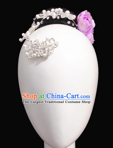 Traditional China Classical Dance Headwear Handmade Stage Show Hair Accessories Wig Chignon