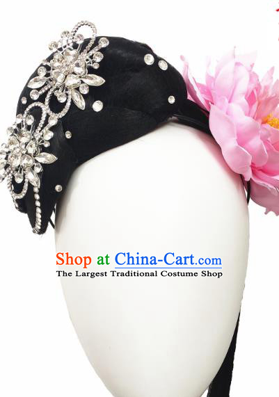 Traditional China Fan Dance Headwear Handmade Stage Show Yangko Dance Hair Accessories Fan Dance Wig Chignon