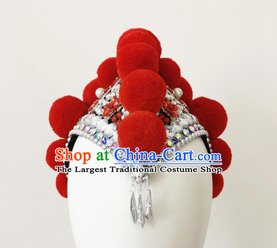 China Folk Dance Hair Accessories Traditional Yi Ethnic Red Cockscomb Hat