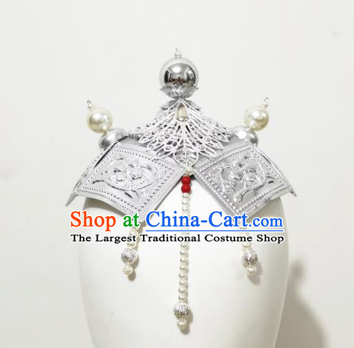 China Ethnic Folk Dance Hair Accessories Traditional Mongol Nationality Argent Hat