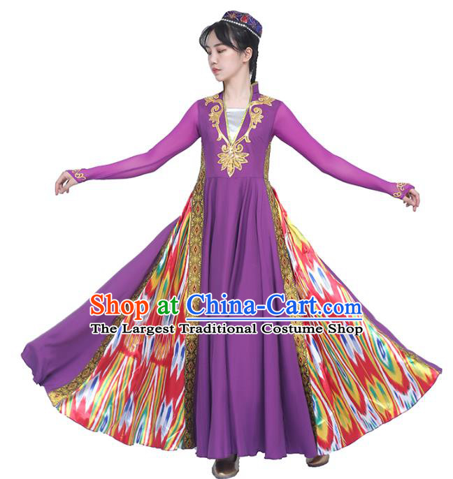 China Traditional Uyghur Nationality Folk Dance Clothing Ethnic Women Dance Purple Dress and Hat Outfits