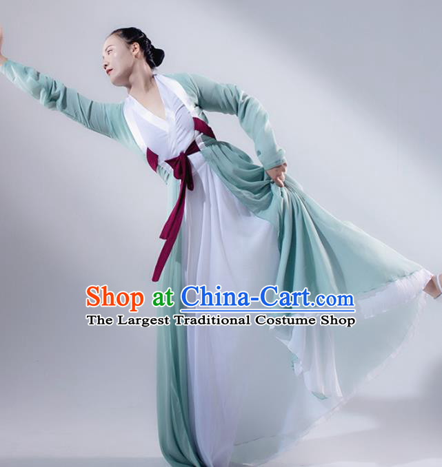 Traditional Chinese Korean Nationality Folk Dance Light Green Dress Classical Dance Stage Performance Clothing