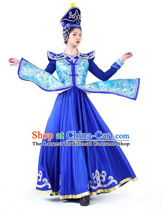 China Mongolian Ethnic Women Folk Dance Royalblue Dress and Hat Outfits Traditional Mongol Nationality Wedding Clothing