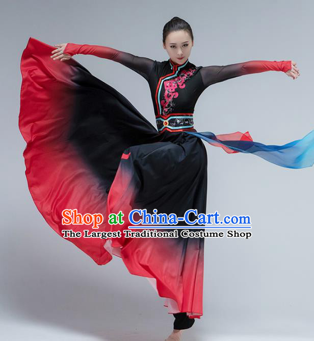 China Mongol Nationality Folk Dance Dress Traditional Mongolian Ethnic Stage Performance Clothing