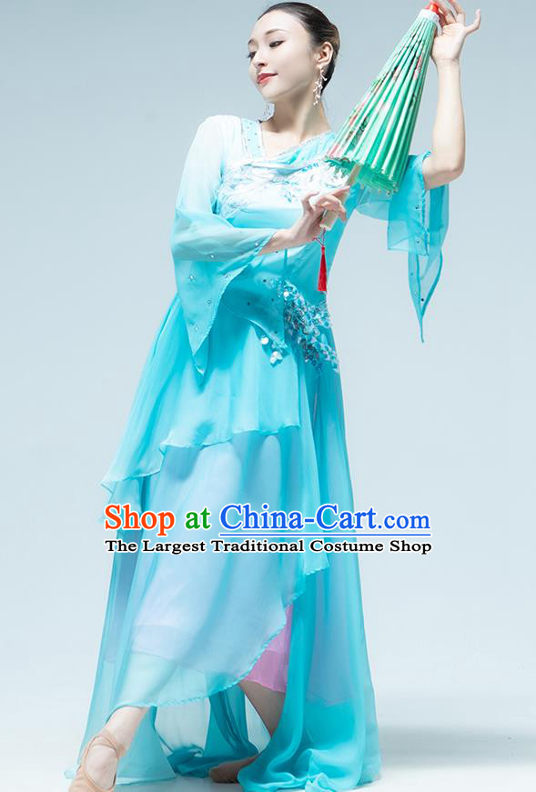 Traditional China Umbrella Dance Classical Dance Blue Dress Stage Show Costume