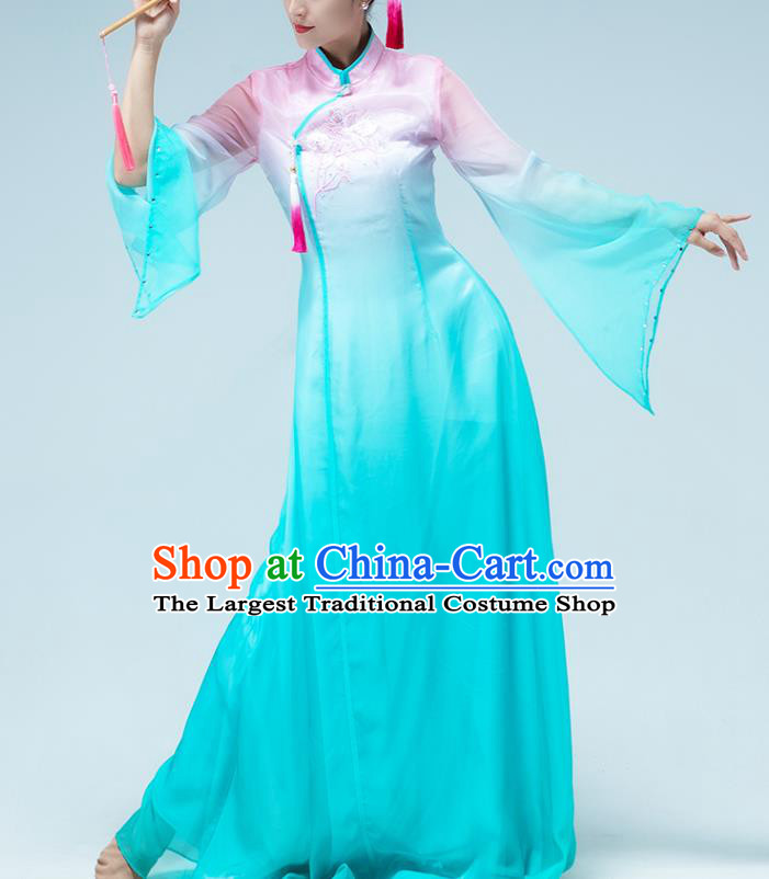 Traditional China Stage Show Group Dance Costume Umbrella Dance Classical Dance Blue Dress