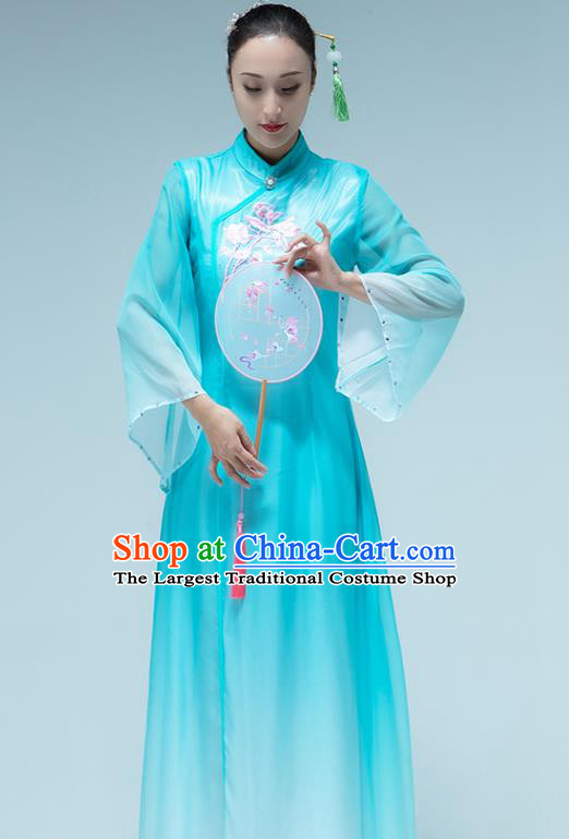 Traditional China Umbrella Dance Classical Dance Blue Dress Stage Show Group Dance Costume