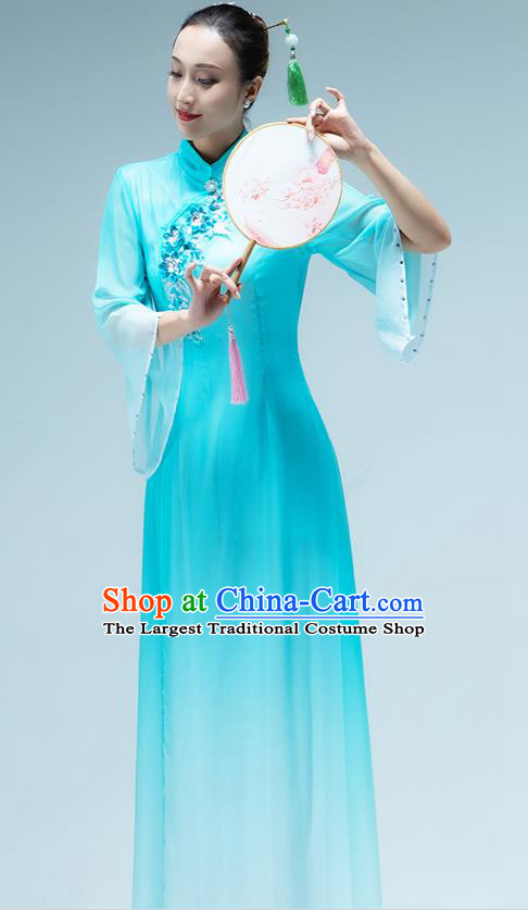 Traditional China Group Dance Stage Show Costume Classical Dance Fan Dance Blue Dress