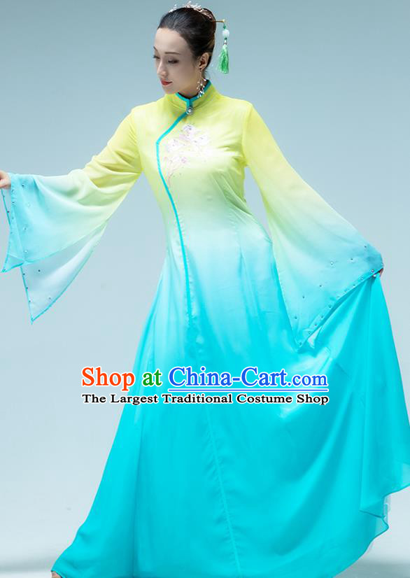 Traditional China Classical Dance Fan Dance Blue Dress Group Dance Stage Show Costume