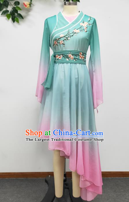 Traditional China Fan Dance Stage Performance Costume Classical Dance Light Blue Dress