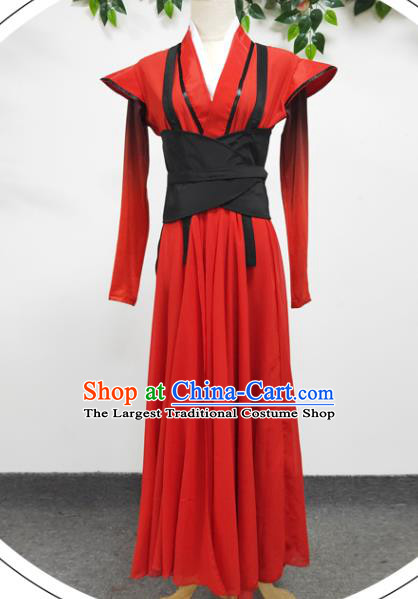 Traditional Chinese Stage Performance Clothing Cosplay Ancient Female Swordsman Red Hanfu Dress