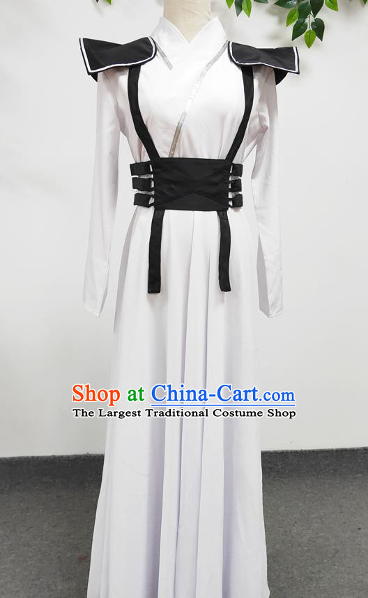 Traditional Chinese Cosplay Ancient Female Swordsman White Hanfu Dress Stage Performance Clothing
