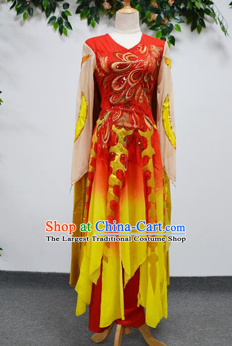 China Opening Dance Stage Performance Outfits Traditional Folk Dance Costume Drum Dance Clothing