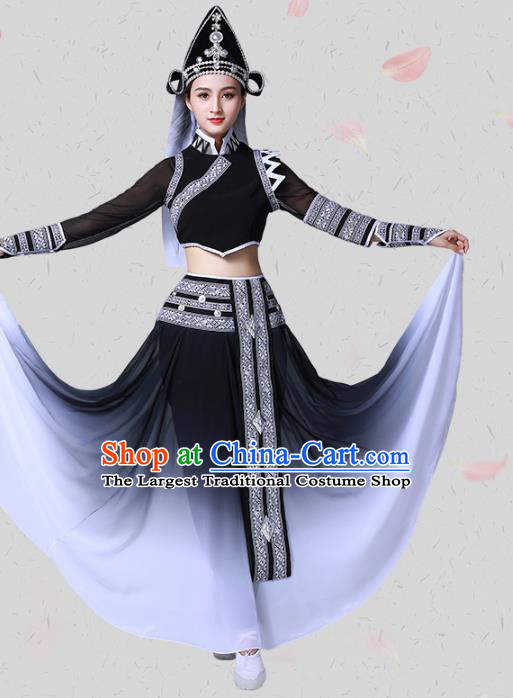 China Traditional Ethnic Dance Black Clothing Dai Nationality Stage Show Blouse and Skirt Outfits