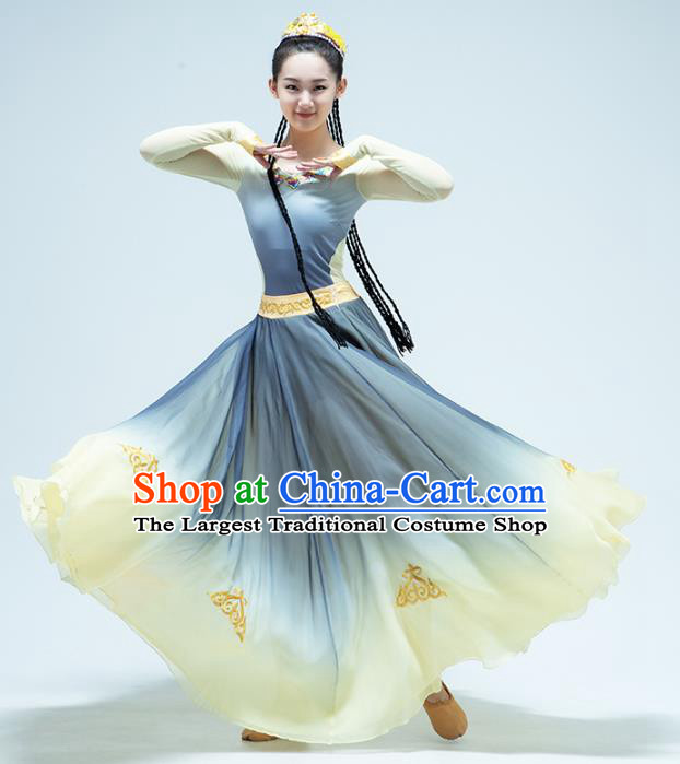 China Uyghur Nationality Dance Blue Dress Traditional Xinjiang Ethnic Stage Performance Clothing