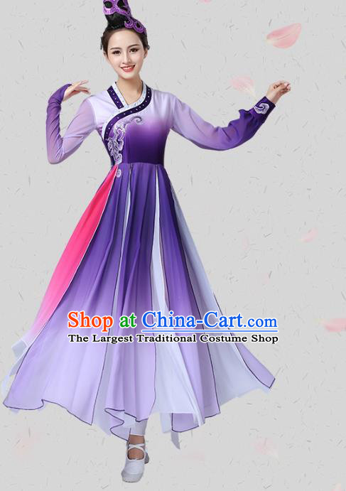China Classical Dance Group Dance Clothing Traditional Stage Performance Costume Umbrella Dance Purple Dress