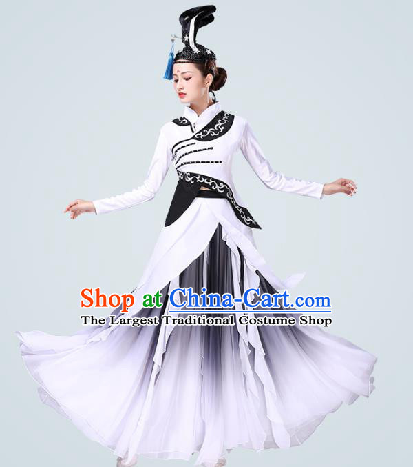 China Traditional Female Group Dance Costume Classical Dance Stage Performance White Dress