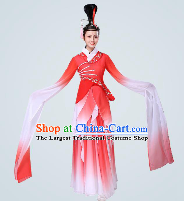 China Traditional Stage Performance Group Dance Costume Classical Dance Red Water Sleeve Dress