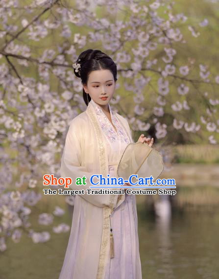 China Ancient Patrician Woman Clothing Traditional Embroidered Hanfu Dress Song Dynasty Noble Beauty Historical Costumes Full Set