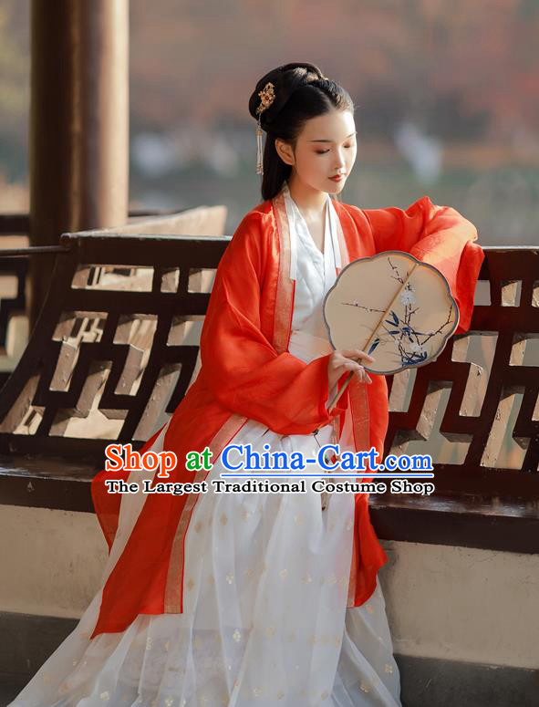 China Ancient Noble Lady Clothing Traditional Court Hanfu Dress Song Dynasty Young Beauty Historical Costumes