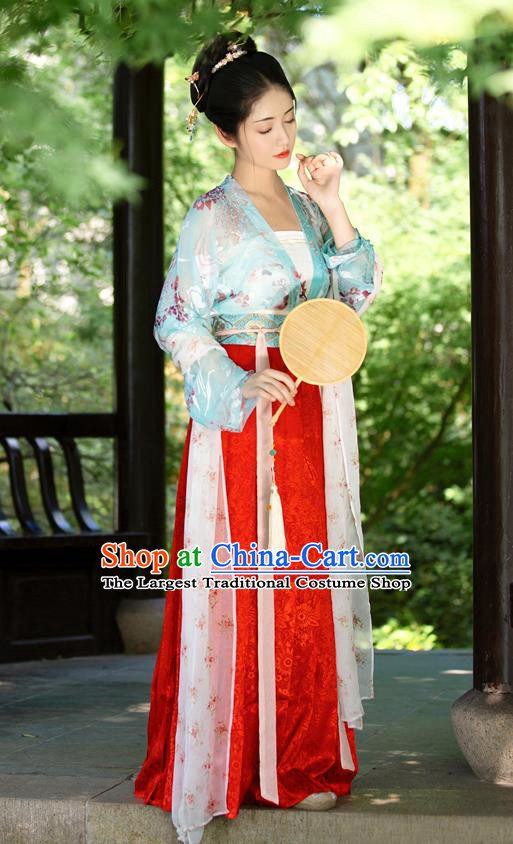 China Ancient Song Dynasty Young Beauty Historical Clothing Full Set