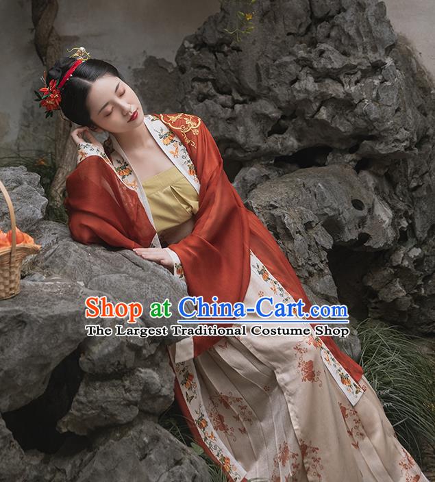 China Traditional Song Dynasty Imperial Consort Historical Clothing Ancient Court Woman Embroidered Hanfu Dress Full Set