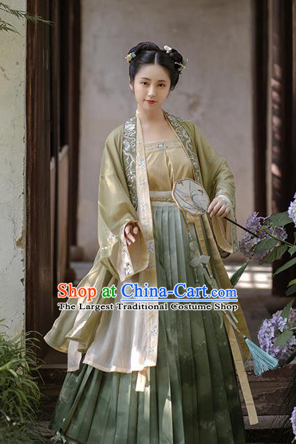 China Ancient Young Lady Embroidered Hanfu Dress Traditional Song Dynasty Noble Female Historical Clothing