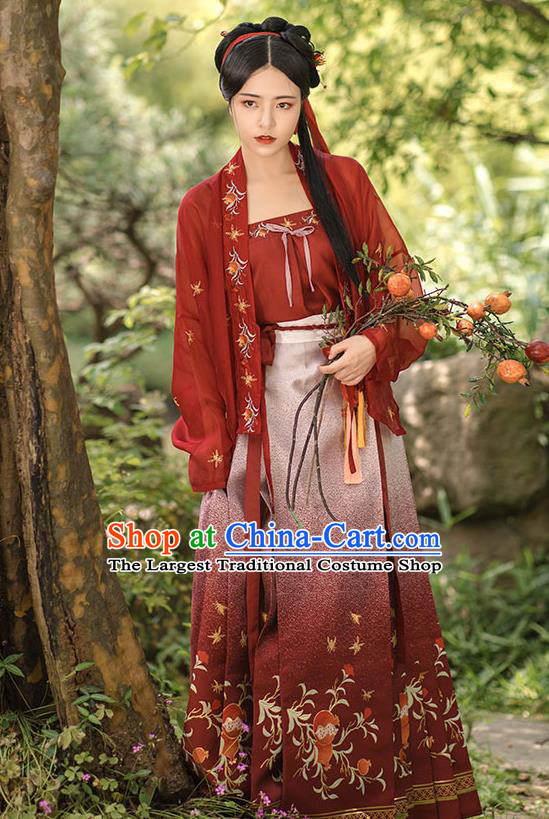 China Ancient Country Woman Embroidered Hanfu Dress Traditional Song Dynasty Young Lady Historical Clothing Complete Set