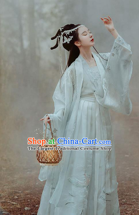 Ancient China Legend Goddess Embroidered Costumes Traditional Jin Dynasty Palace Princess Hanfu Dress Clothing