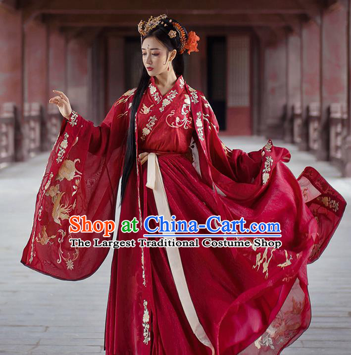 China Ancient Palace Lady Red Hanfu Dress Traditional Jin Dynasty Wedding Historical Costumes Embroidered Clothing Complete Set