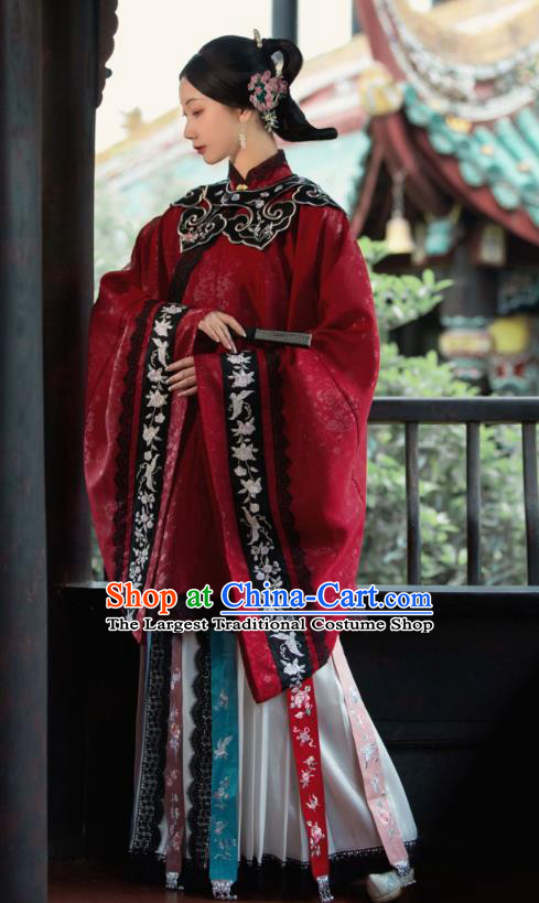 China Traditional Hanfu Apparels Ming Dynasty Noble Woman Historical Costumes Ancient Imperial Countess Clothing