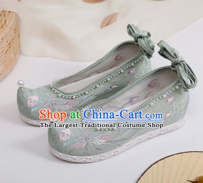 China Embroidered Phoenix Green Shoes Hanfu Bow Shoes Traditional Pearls Shoes Handmade National Shoes